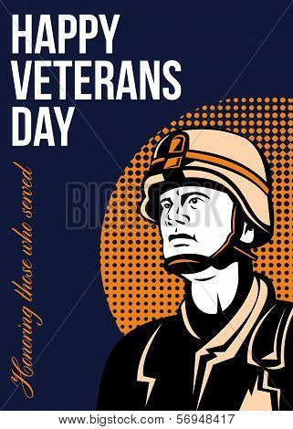 Happy Veterans Day Serviceman Greeting Card