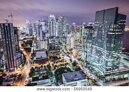 Miami, Florida, USA downtown nightt aerial cityscape at night.