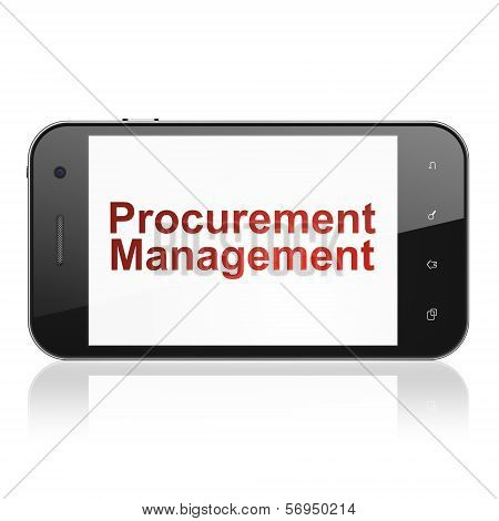 Finance concept: Procurement Management on smartphone