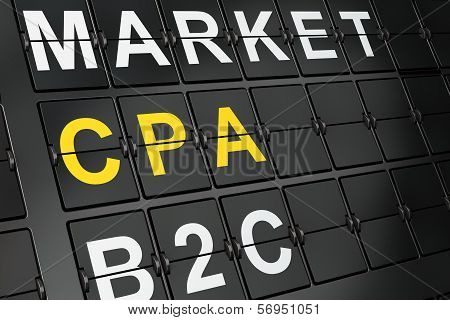 Business concept: CPA on airport board background