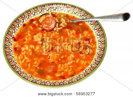 Bowl of Cajun Gumbo Soup in Bowl with silver spoon.
