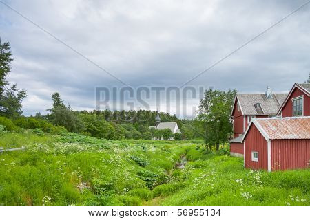 Houses And Church Near A Forest