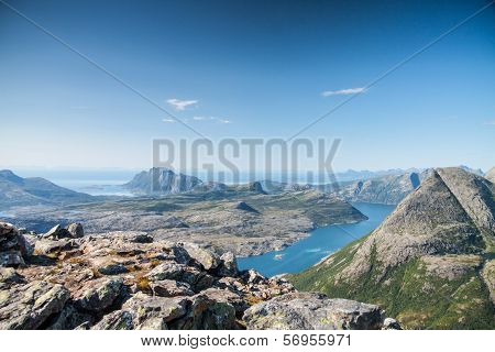 View With Fjord And The Ocean From A Peak In Northern Norway