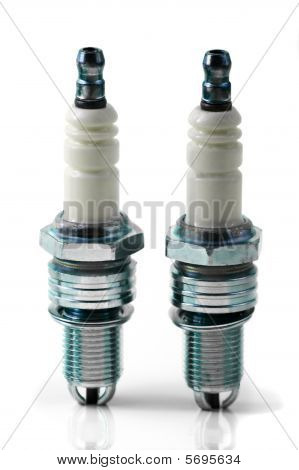 Two Spark Plugs For Car's Engine