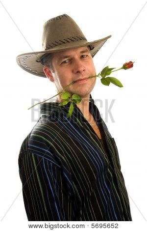 Cowboy In Love With Rose In Mouth