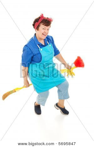 Housekeeper Riding Broom