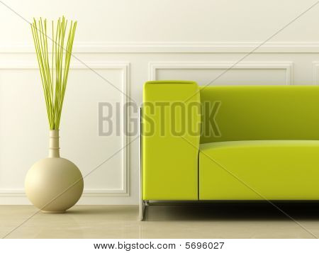 Green Couch In White Room