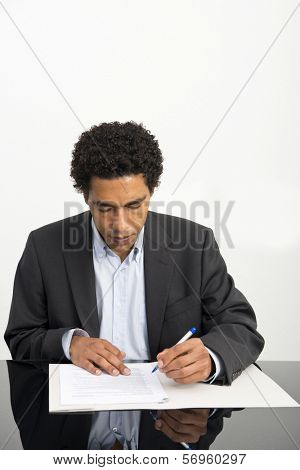Lawyer going over the details of a contract
