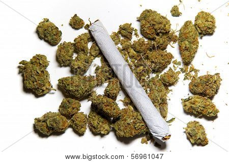 Close Up Of Medicinal Marijuana And A Joint