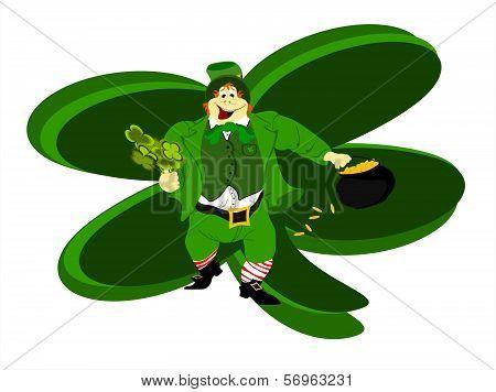 leprechaun large clover background