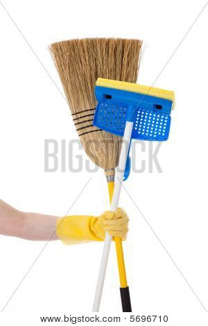Hand Holding A Mop And A Broom - Household Chores