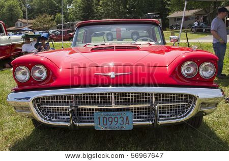 1960 Red Ford Thunderbird Hardtop Convertible Front View