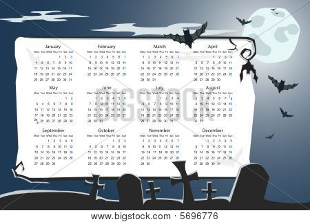 Vector Halloween calendar with cemetery