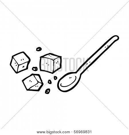 cartoon sugar lumps and spoon