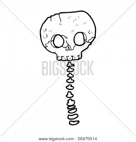 cartoon spooky skull and spine