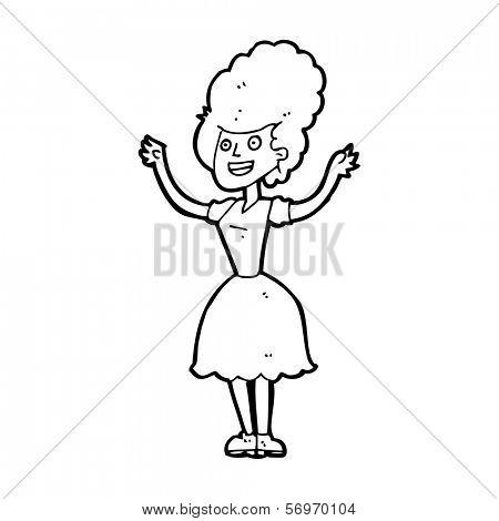 cartoon happy 1950's woman