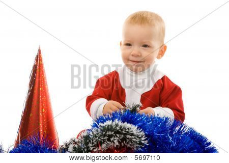 Christmas Portrait Of The Young Boy