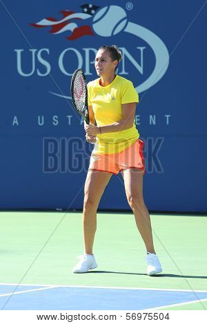 Professional tennis player Flavia Pennetta from Italy practices for US Open 2013