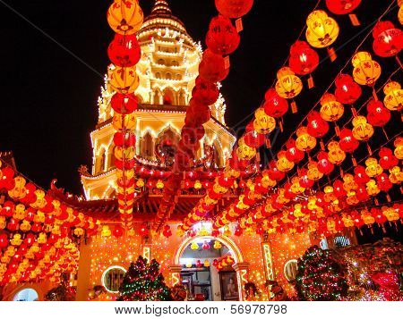 Paper Lantern In A Chinese Buddhist Temple.