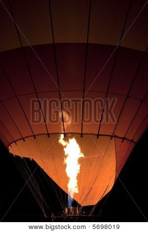 Inflating Hot Air Balloon At Night