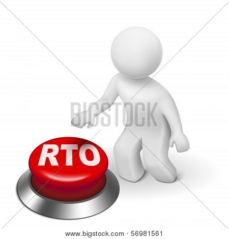 3D Man With Rto Recovery Time Objective Button