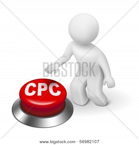 3D Man With Cpc ( Cost Per Click ) Button