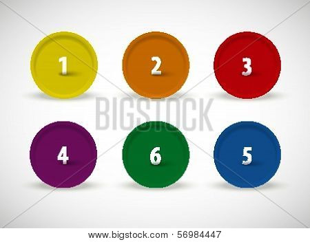 One to six vector color button