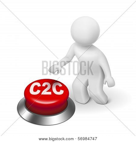 3D Man With C2C Client To Client Button