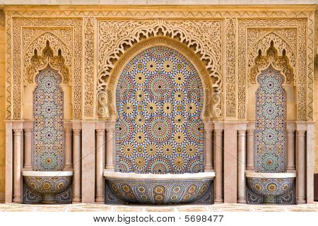 Typical Moroccan Tiled Fountain In The City Of Rabat