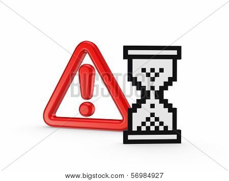 Warning symbol  and icon of sandglass.