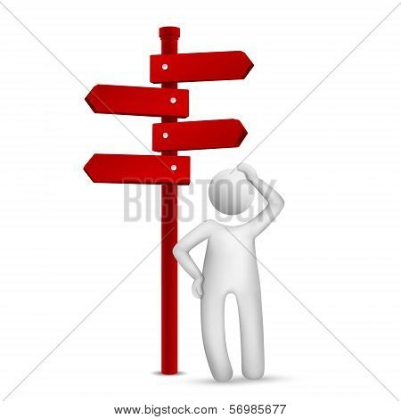 3D Man Standing In Front Of A Road Sign