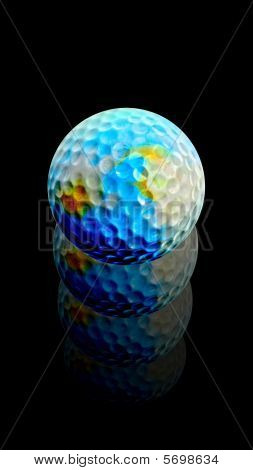 Golf Ball Earth rises after hit
