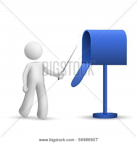 3D Person Pointing To A Mail Box