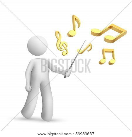 3D Person Pointing A Note Symbol