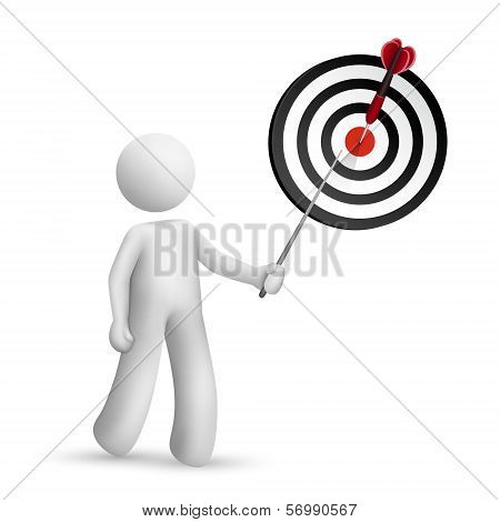 3D Person Pointing At Dart Hitting A Target
