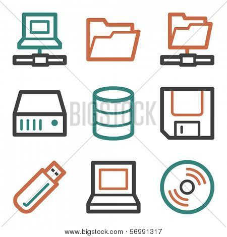 Drive storage web icons, contour series
