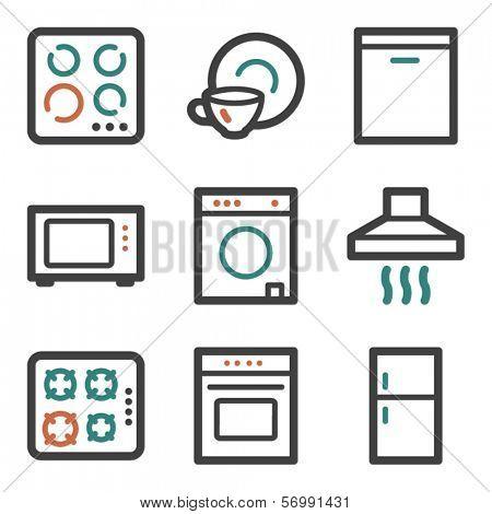 Home appliances web icons, contour series