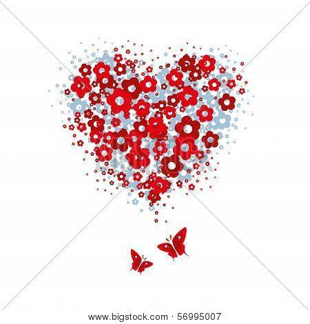 Flower heart with butterflies