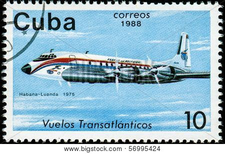 CUBA - CIRCA 1988: A Stamp printed in CUBA shows image of airplane, with inscription