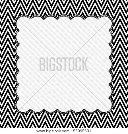 Black And White Chevron Frame With Embroidery Background
