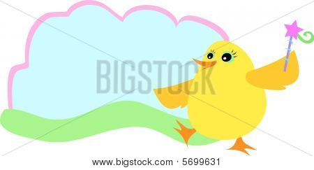 Yellow Chick and Text Bubble
