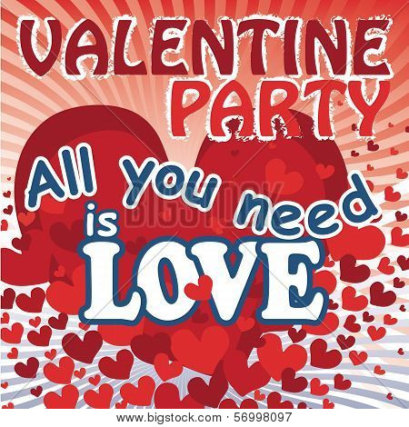 Flying Red Hearts In Valentines Poster. All You Need Is Love.vector