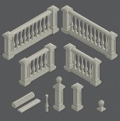stock photo of balustrade  - set of isometric architectural element balustrade - JPG