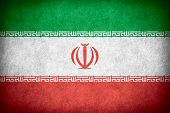 stock photo of iranian  - flag of Iran or Iranian banner on paper rough pattern texture - JPG