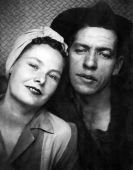 picture of factory-worker  - Genuine 1940 Era Factory Worker Couple Portrait - JPG