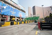 MACAU, CHINA - NOVEMBER 2, 2012: Safety barriers installed along streets before the upcoming racing