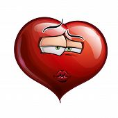 stock photo of flirtatious  - Cartoon Illustration of a Heart Face Emoticon sending a kiss - JPG