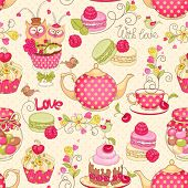 image of cupcakes  - Holiday seamless pattern with macaroon - JPG