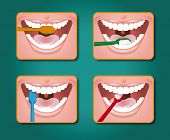 stock photo of toothpaste  - four steps to clean the teeth with toothpaste and toothbrush - JPG