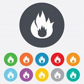 stock photo of fire  - Fire flame sign icon - JPG